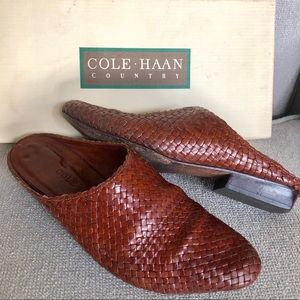 Vintage Early 1990s Cole Haan Cognac Leather Mules